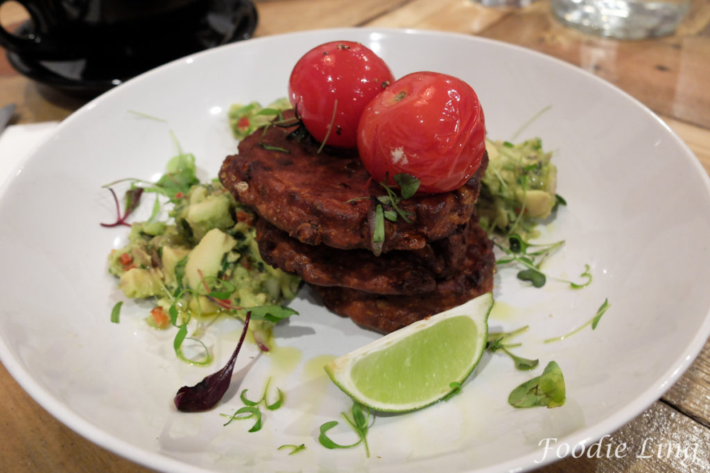 Corn Fritters with Grilled Truss Tomatoes